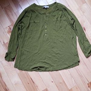 Jones NY green top, EUC, sz 1X 14/16